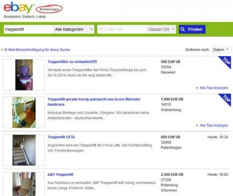 treppenlift inserate bei ebay kleinanzeigen bilder und fotos. Black Bedroom Furniture Sets. Home Design Ideas