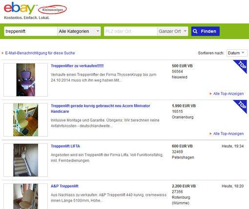 gebrauchte treppenlifte liste von firmen und preise. Black Bedroom Furniture Sets. Home Design Ideas